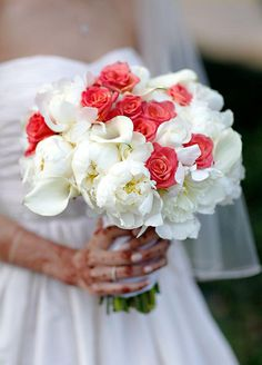 White and coral/magenta wedding bouquet