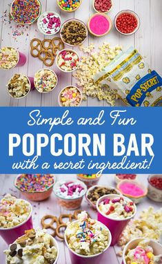Easy and Yummy Popcorn Bar - The Perfect Movie Night Treat - Clumsy Crafter We made this DIY Popcorn bar to celebrate the new Spirit Riding Free using sweet treats and Pop Secret popcorn found at Walmart. Popcorn Bar Party, Popcorn Toppings, Best Popcorn, Candy Popcorn, Perfect Popcorn, Kino Snacks, Kino Party, Movie Night Party, Movie Nights