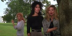 Susan Sarandon, Cher and Michelle Pfeiffer in The Witches of Eastwick, a film by George Miller, 1987.