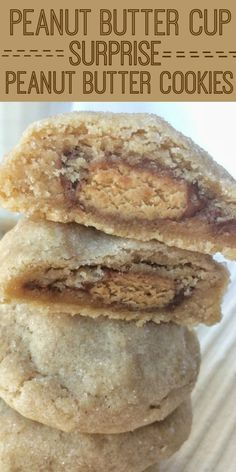 Thick & puffy peanut butter cookies stuffed with a surprise of a miniature Reese's peanut butter cup! These peanut butter surprise cookies are full of peanut butter flavor with a candy surprise in the middle.