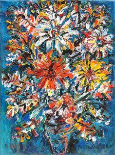 'Florero en Fondo Azul' (Flower Vase in Blue Background) by René Portocarrero, 1960
