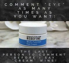 "Who wants a free R+F Multi Function Mini Eye Cream.  Comment below ""eye""  I will pick one winner.  Offer ends 3/1/176.  Message me on pinterest @ R+Fskincare101 for more info."