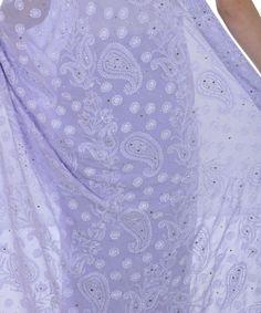 Lilac Grey Chikankari And Kamdani Pure Georgette Saree