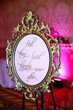 Happily ever after reception decor at a Disney's Fairy Tale Wedding
