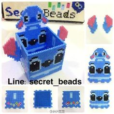 Stitch box perler beads by secret_beads Perler Bead Disney, Perler Bead Templates, Diy Perler Beads, Perler Bead Art, Hamma Beads 3d, Fuse Beads, Melty Bead Patterns, Pearler Bead Patterns, 3d Pokemon