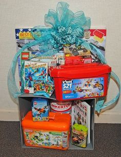 gift baskets, basket idea, basket raffle, silent auction baskets, bounti basket, auction idea, lego gift, box, fundrais idea