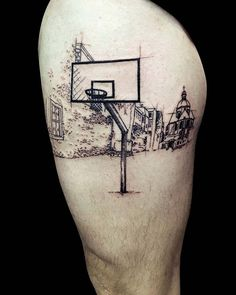 By our resident @lagarbo_tattoo Booking: lagarbotattoo@gmail.com - #lesdernierstrappeurs #tattoo #tattoos #lines #color #black #grey #ink #tatouage #blackwork #blackink #paris #tattooart #tattoolife #tattooshop #basketball #architecture #city #playground