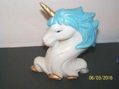 vintage unicorn horse fantasy animal figurine blue white figural kawaii