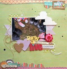 Party of Five Layout by Nicole Nowosad using the Neopolitan Bean Bisque papers, Coordinating Cardstock Stickers (Homemade 6 Bean Soup, Hearty Barley, Sweet & Sour Soup, Sweet & Sour Soup Pea Pod Parts, Rockin' Red corrugated alphas, red felt blossoms, and unity/Jillibean Stamps (Via Jillibean Soup blog).