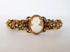 Florenza Cameo Bangle Bracelet Vintage Florenza Bracelet by artsix