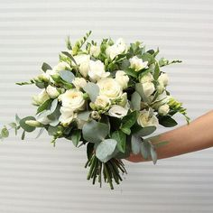 Bride's Bouquet roses, freesia, lisianthus and greenery. Could be made much looser White Wedding Bouquets, Bride Bouquets, Flower Bouquet Wedding, Floral Wedding, Elegant Wedding, Wedding Flower Arrangements, Floral Arrangements, Table Arrangements, Deco Floral