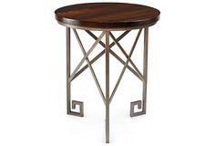 Greek key + reclaimed wood - Gertie Side Table, Espresso on OneKingsLane.com