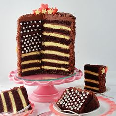 SugaryWinzy Chocolate Celebration Ruffle Flag Cake