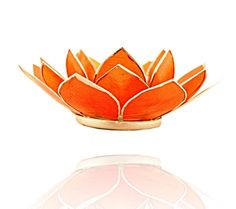Lotus sfeerlicht oranje 2e chakra zilverrand - 13.5 cm - online