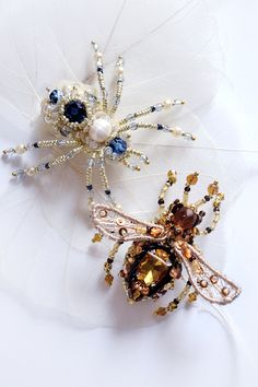 Bee and Spider brooches
