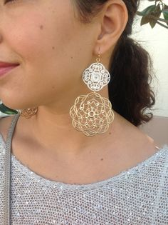 $18 Silver and gold filigree earrings