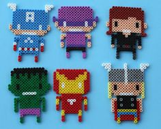 Set of 6 Avengers Christmas Ornaments or Magnets Made from Perler Beads