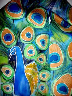 Peacock Hand Painted SILK SCARF Original Art Silk by SilkMagic, $46.00