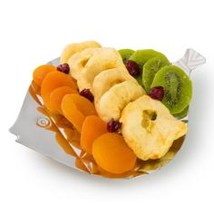 Dried fruit beautifully displayed on a fish shaped silver tray | Holiday Gift Baskets