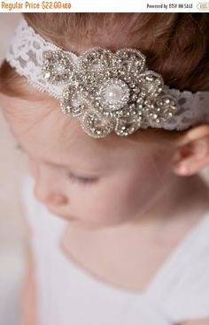 10% OFF Lace and Rhinestone Headband Bling Headband by Pizzazzies