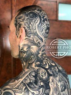 Best Neck Tattoos, Full Back Tattoos, Full Body Tattoo, Head Tattoos, Body Art Tattoos, Tatoos, Black And Grey Sleeve, Black And Grey Tattoos, Tattoo Design Drawings