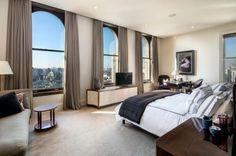 luxus schlafzimmer französische fenster dichte vorhänge