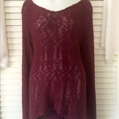Cozy Maroon Sparkle Sweater Size L - Charlotte Russe - sparkle thread woven in - long and perfect to wear with leggings - slightly sheer when stretched - super comfy and soft - zip up back with slit at bottom and high-low look Charlotte Russe Sweaters Crew & Scoop Necks