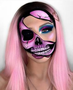 We're ready to get SPOOKY Is it acceptable to wear half-skull half-glam makeup to work everyday until Halloween? Askin' for a friend Our Halloween shop is LIVE huns Get creatin' those lewks and don't forget to tag us for a chance to be featured ( Creepy Halloween Makeup, Amazing Halloween Makeup, Halloween Makeup Looks, Crazy Makeup, Cute Makeup, Glam Makeup, Helloween Make Up, Horror Makeup, Creative Makeup Looks