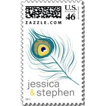 Peacock Feather, custom Wedding Postage stamps by Paisley In Paris™