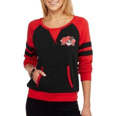 DC Comics Harley Quinn Juniors' Graphic French Terry Varsity Raglan Pullover, Size: Small, Black