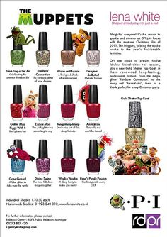 Muppets Nail polish!! My hubby bought me these for Xmas..I am wearing Meep, Meep, Meep right now;)