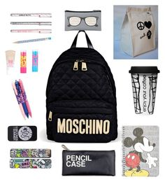 """what is in my backpack"" by fa-shi-on on Polyvore featuring interior, interiors, interior design, home, home decor, interior decorating, Moschino, Topshop, Maybelline and Dot & Bo"
