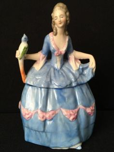 6-Antique-German-Figural-Dresser-Doll-Trinket-or-Powder-Box-Woman-With-Parrot