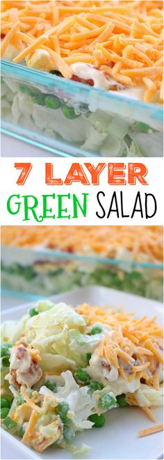 Delicious 7 Layer Salad - - This 7 layer green salad is layered with bacon, egg, veggies and cheese. Topped off with a delicious homemade dressing, this salad is delicious and perfect for any potluck. Yummy Recipes, Cooking Recipes, Yummy Food, Healthy Recipes, Recipies, Chili Recipes, Healthy Options, Cooking Tips, Tasty
