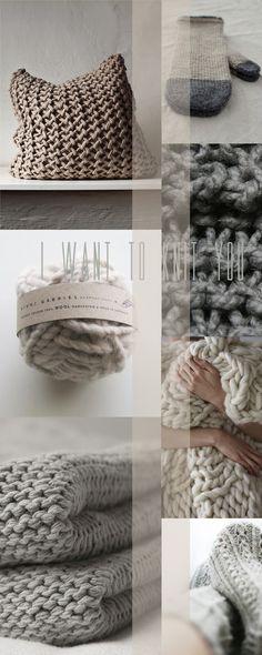 Nature<3 - natural chunky knit cushion and blankets