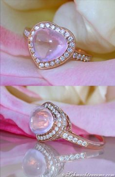Cute Rose Quartz Diamond Heart Ring, 3,88 cts. RG-18K - Find out: schmucktraeume.com - Visit us on FB: https://www.facebook.com/pages/Noble-Juwelen/150871984924926 - Contact: info@schmucktraeume.com
