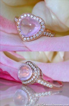 Cute Rose Quartz Diamond Heart Ring, 3,88 cts. RG-18K - Find out: schmucktraeume.com - Visit us on FB: https://www.facebook.com/pages/Noble-Juwelen/150871984924926 - Contact: info@schmucktraeume.com