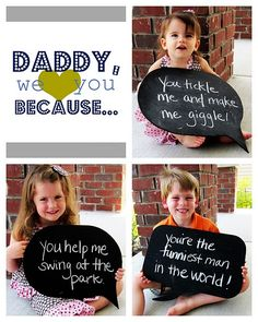 This is cute because each kid says what they want about their dad and it goes in a photo rather than a drawer.