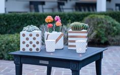 Use TapeManBlue's #BluePaintersTape to make this #DIY Gold Patterned Planters