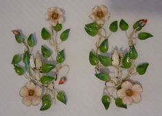 ITALIAN TOLE WILD ROSES CANDLE HOLDER SCONCES