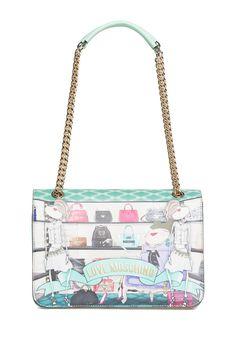 LOVE Moschino Chain Strap Printed Shoulder Bag