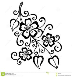 Decorative Branch Flowers Beautiful Vector Patterned Design 34573059