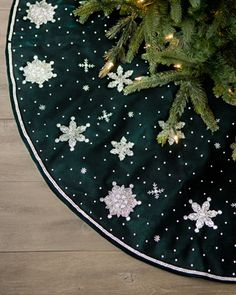 Green Velvet Christmas Tree Skirt  at Horchow.