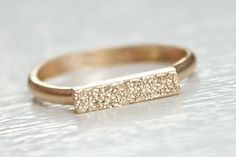 14k Gold Bar Ring - dainty modern band with pave finish by Erin Jane Designs