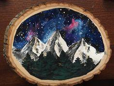 Night sky painting on wood slice