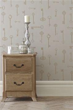 Buy Gold Keys Wallpaper from the Next UK online shop New Homes, Decor, Interior Inspiration, Interior Decorating, Home, Hall Wallpaper, Wallpaper Uk, Home Decor, Dresser As Nightstand