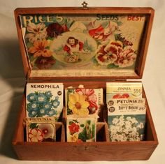 Antique Rice's Seed Display Box The Little Gardener Girl with Seed Packets | eBay