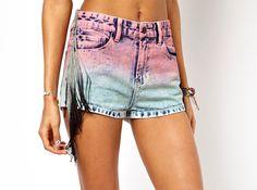 Ombre Fringe Denim Shorts   20 Chic Shorts