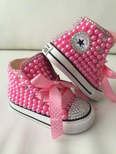 Girls Converse All Stars High Top Pearl Bling Flower Birthday Girl Shoes Wedding Princess Pink Source by joyceagriffith girls shoes Bedazzled Converse, Converse Wedding Shoes, Wedding Sneakers, Pink Wedding Shoes, Diy Converse, Leather Converse, Bling Wedding, Bridal Shoes, Bling Bling