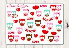 Valentine's Day Sweet Owl Stickers, Erin Condren Planner Stickers, Filofax, Kikki K, Scrapbook Stickers, Calendar Stickers by aHeartFeltLife on Etsy https://www.etsy.com/listing/260390313/valentines-day-sweet-owl-stickers-erin